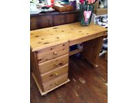 Shabby Pine *DRESSING TABLE or DESK* Drawers FOR RESTORATION PAINTING PROJECT