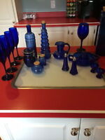 Collection of Cobalt Blue Glass