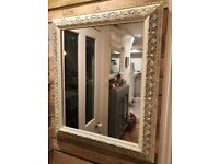ORNATE DECORATIVE CREAM LARGE MIRROR - LIVING ROOM, BEDROOM, HALLWAY