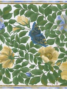 BOTANICAL LEAVES WITH YELLOW AND BLUE FLOWERS AND BUTTERFLIES  WALLPAPER BORDER