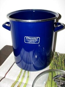 CHANTAL Blue Enamelware ASPARAGUS POT, Lid, Basket GERMANY Kitchener / Waterloo Kitchener Area image 4