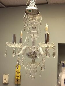 Jan 28/17 - now 4 instock again - New Crystal 4 light chandelier Kitchener / Waterloo Kitchener Area image 1
