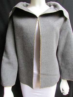 Valentino Boutique Women Gray Wool Fashion Caban Jacket Gold Metal Studs 10/44