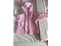 Newborn baby girls hooded thick woven cardigan
