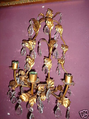 VINTAGE ITALIAN FRENCH GOLD GILT ORNATE CANDLE HOLDER WALL SCONCE CRYSTAL PRISM