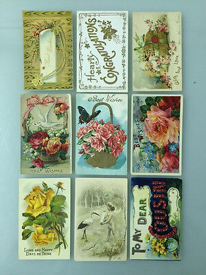 9 Antique/Vintage Best Wishes/Congratulations Postcards *1907-1910's* Embossed