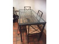 Glass/Iron Dining Table and 4 Iron/Wicker Chairs