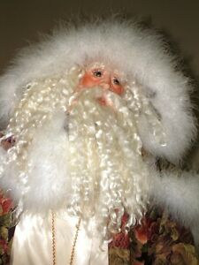3' Tall FATHER TIME Kris Kringle Santa CHRISTMAS Porcelain DECOR