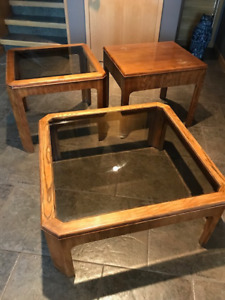 Set of Oak Coffee Table and End tables with glass inlay