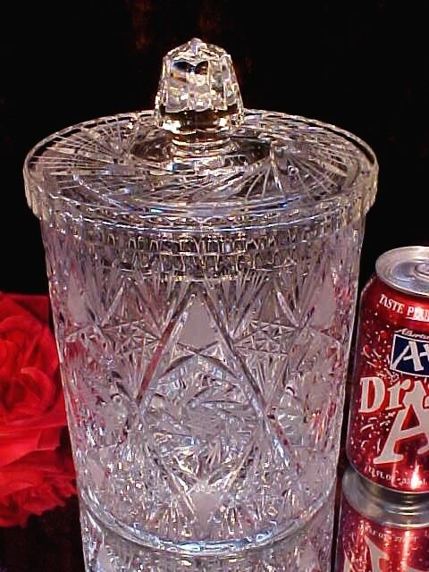 Vntg Crystal CUT GLASS LARGE HEAVY Cookie Jar Ice Bucket PINWHEELS Cut to PIECES