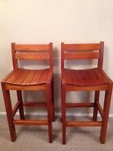 2 Timber Bar Stools Flinders Shellharbour Area Preview