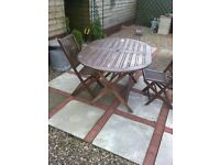 Wooden garden table & 3 chairs for sale