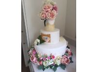 Faux Cake Tiers - 3 dummy tiers, including large base with pretty flowers, middle layer and topper