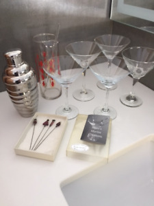 Martini mixers, glasses and swizzle sticks