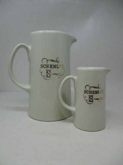 2 Schenley Whiskey Pitchers Large and Small