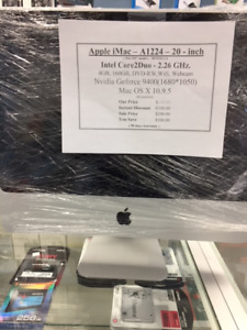 """Apple iMac 20"""" All-In-One -Core 2 Duo 2.0Ghz"""