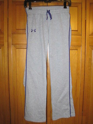 Under Armour Cold Gear pants kids girls YMD M gray purple running fitness gym
