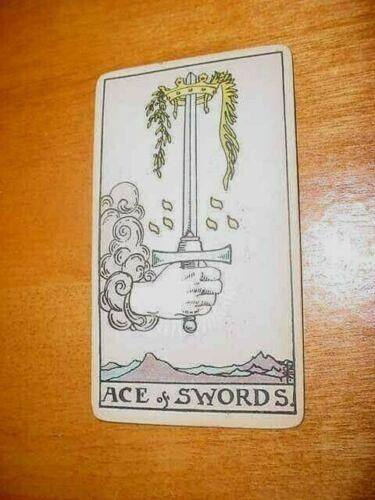SINGLE VINTAGE TAROT CARD ACE OF SWORDS