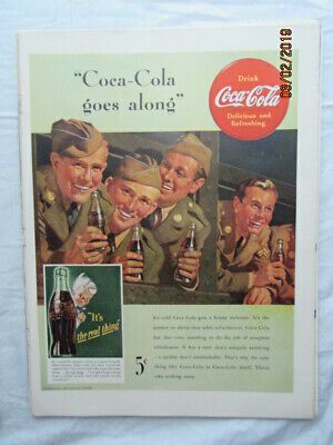 1942 VTG Original Coca Cola Coke Soda Magazine Ad Army Men Goes Along Way Print