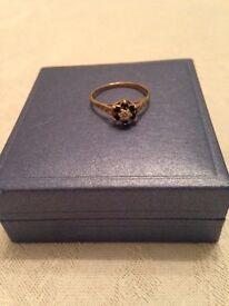 9 Carat Gold, Diamond and Sapphire ring