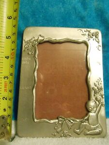 Pewter Birth Record Photo Frame for sale