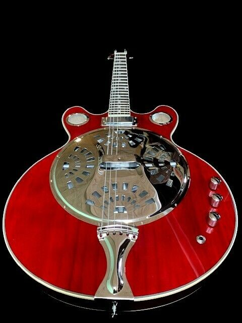 NEW BLUES 6 STRING RESONATOR SLIDE ACOUSTIC ELECTRIC GUITAR W/ CONE SPIDER