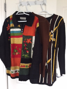 3 Womens Chenille Artwork Sweaters