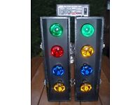 DISCO LIGHTS PACKAGE - PAIR 4s WITH RYGER 4 CHANNEL CONTROLLER- VERY BRIGHT !!!