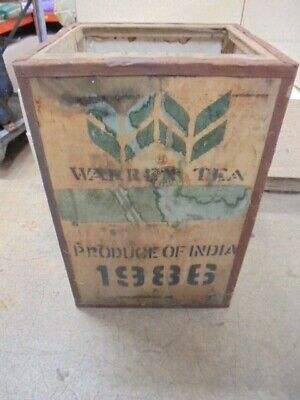 LARGE WOODEN TEA CHEST PACKING BOX VINTAGE WARREN TEA BALIJAN NORTH INDIA
