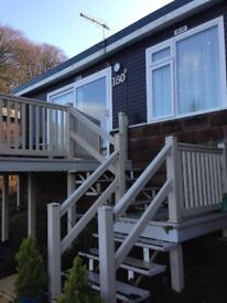 Stunning sea view chalet with decking 12 month park Devon nr Cornwall
