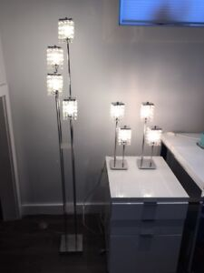 Crystal and chrome table and floor lamps - Multiluminaires