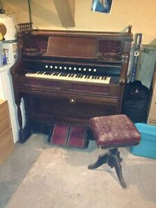 BEST OFFER ..ANTIQUE PUMP ORGAN WITH STOOL