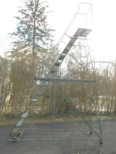 USED 15 Step Commercial Steel Rolling Ladder/PICKUP AT 08534