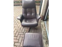 2 X CHAIRS, ONE X FOOTSTOOL, BROWN LEATHER
