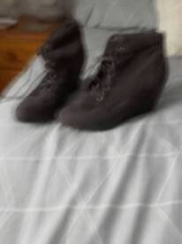 Dark grey lace up ankle boots
