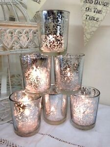 Set of 6 Mercury Glass Silver Tea Light Holder Candle