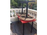 5 red top tables (weather-worn)