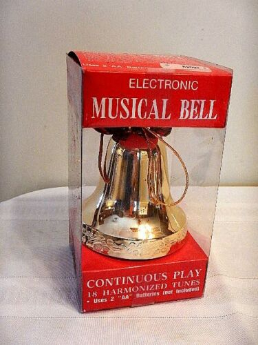 Vintage Electronic  Musical Christmas Gold Bell 18 Tunes Continuous Play NIB