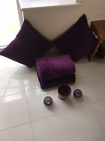 Purple bundle - throws/candle holders/rug/lampshade