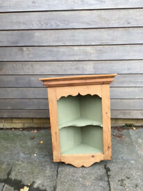 Old pine wall hanging corner unit.