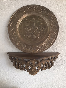 Vintage Brass Embossed Plates - Wall Plaques - Set of 3