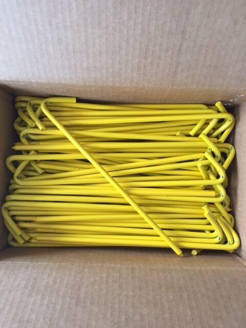 "Box of yellow 12"" Tarp Stakes,Bouncer,Moonwalk,Golf Course Tarps 31212BYLBX100"