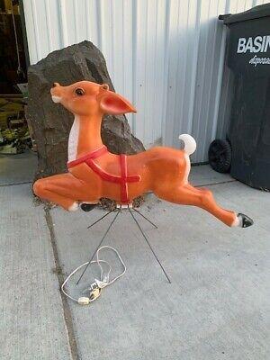 "Vtg Reindeer Empire Santa's Giant Blow Mold Reindeer Christmas Plastic 34"""