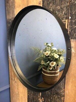 Antiguo Efecto Cristal Redondo Espejo 55cm Diámetro En Mate Color Negro Marco