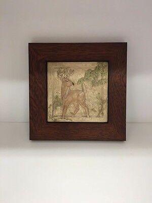 - Medicine Bluff White Tail Deer Tile Arts & Crafts Mission Style Oak Park Frame
