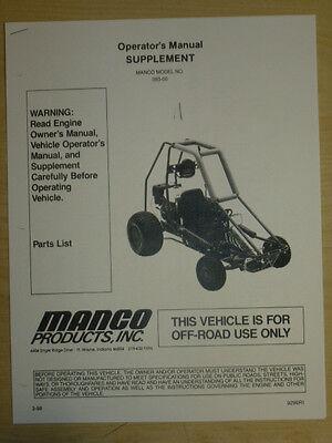 MANCO MODEL 393-00 GO KART PARTS LIST OPERATORS MANUAL CART