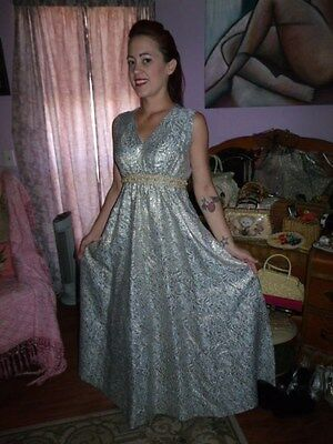 Vintage 60s Gold Lame Rhinestone Pearl Sheath Full Length Cocktail Dress Med