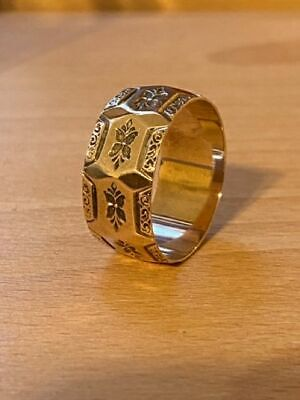 Victorian 10k Gold Cigar Band Wide Ring Size 9.5 Ring