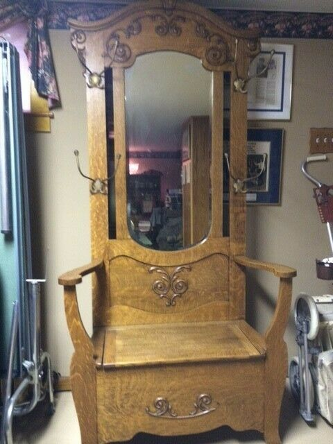 American Antique Victorian Oak Hall Tree