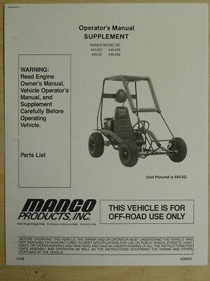 MANCO MODEL 445-241 445-25 446-252 /352 GO KART PARTS LIST OPERATORS MANUAL CART